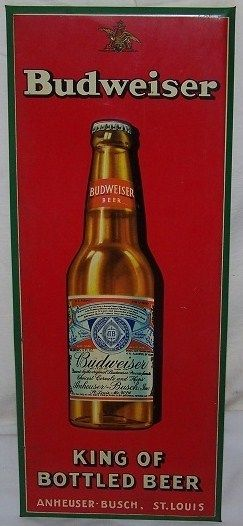 Antique 1930s Budweiser King of Bottled Beer Metal Sign