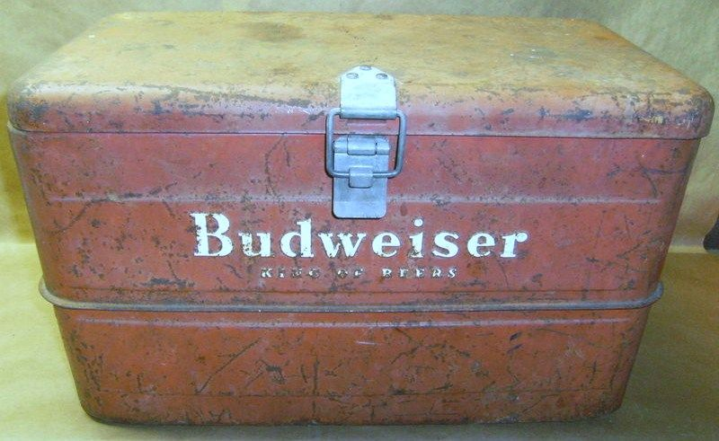 Antique Budweiser Steel Cooler 1940s