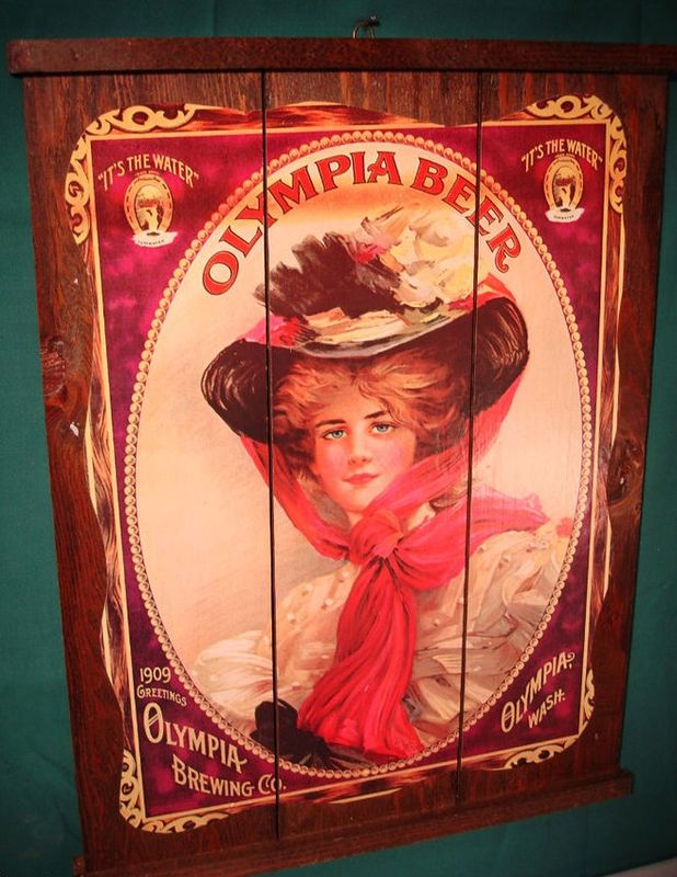 Antique Olympia Beer Wood Plaque Sign 1909