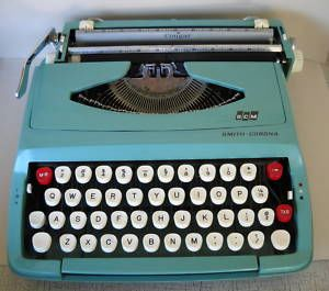 Aqua Smith Corona Cougar Portable Typewriter