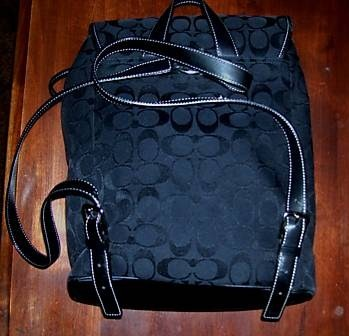 Authentic Coach Signature Backpack Front Black