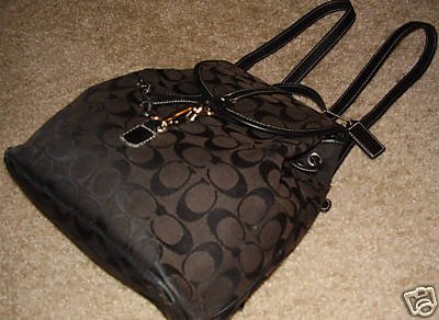 Authentic Coach Signature Dark Brown Backpack