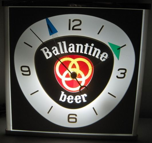 Ballantine Beer Vintage 1960s Era Lighted Wall Clock