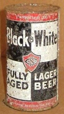 Black & White Flat Top Beer Can/St Claire