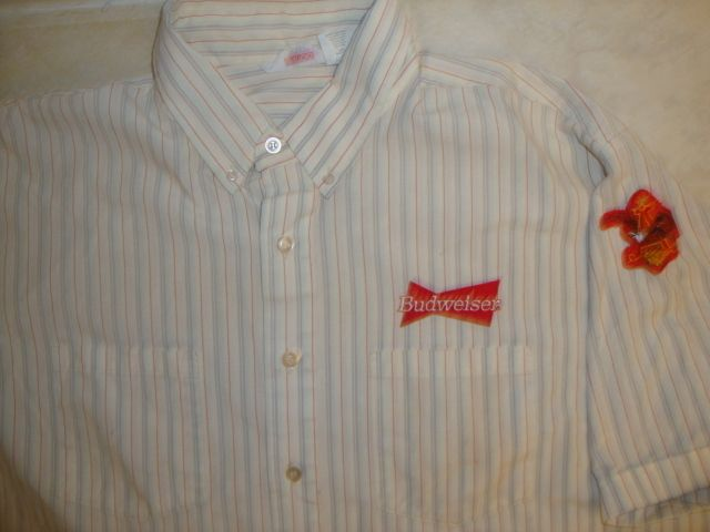 Budweiser Beer Delivery Truck Uniform Butotn Up Work Shirt