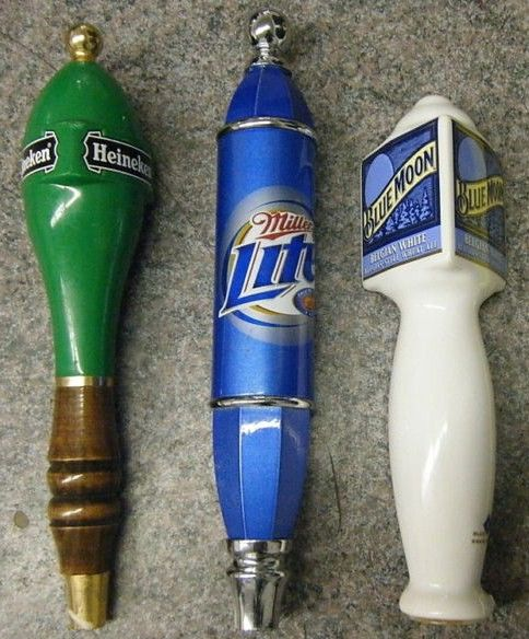 Miller Lite-Blue Moon-Heineken Tap Handle Lot