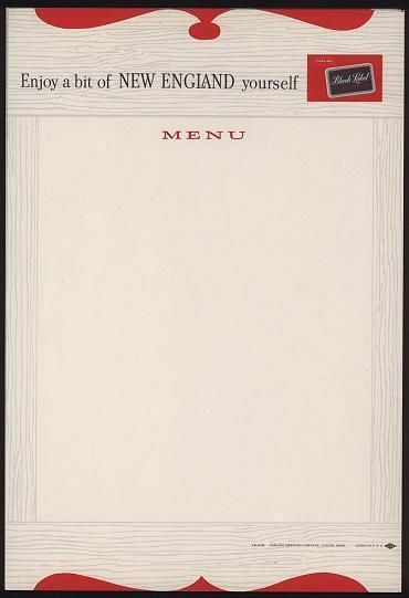 Black Label Beer Sheet Menus