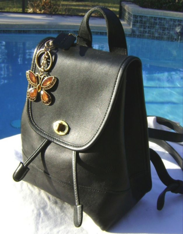 Black Leather Ladies Backpack
