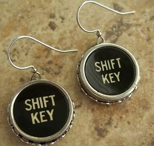 Black Typewriter Key Earrings