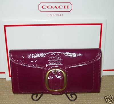 Bleecker Patent Leather Wallet Plum 41557