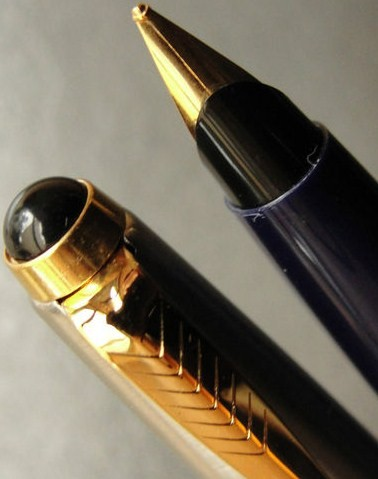 Blue Gold Parker 45 Converter Fountain Pen 14K Med Nib
