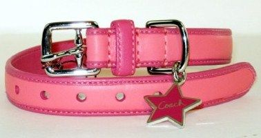 Coach Bonnie Leather Dog Collar Pink