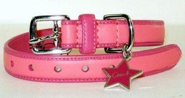 Coach Bonnie Leather Dog Collar Pink