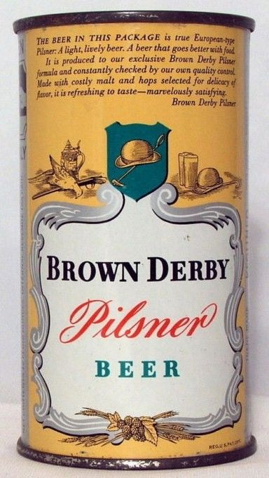 Brown Derby Flat Top Beer Can with Opening Instructions