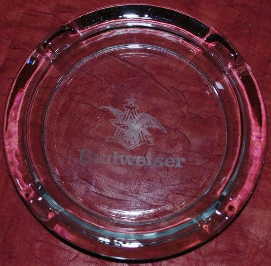Budweiser Ashtray Sitting on Red Cloth Acid Etched Logo