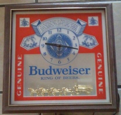 Budweiser Beer Vintage Clock Light Bar Sign-Clydesdales