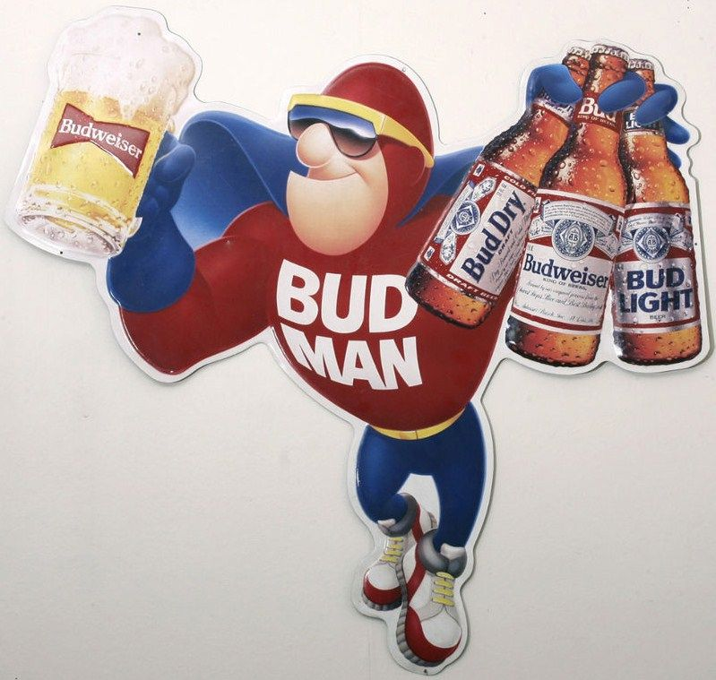 Budweiser Bud Man Tin Bar Sign-Bud Light-Bud Dry