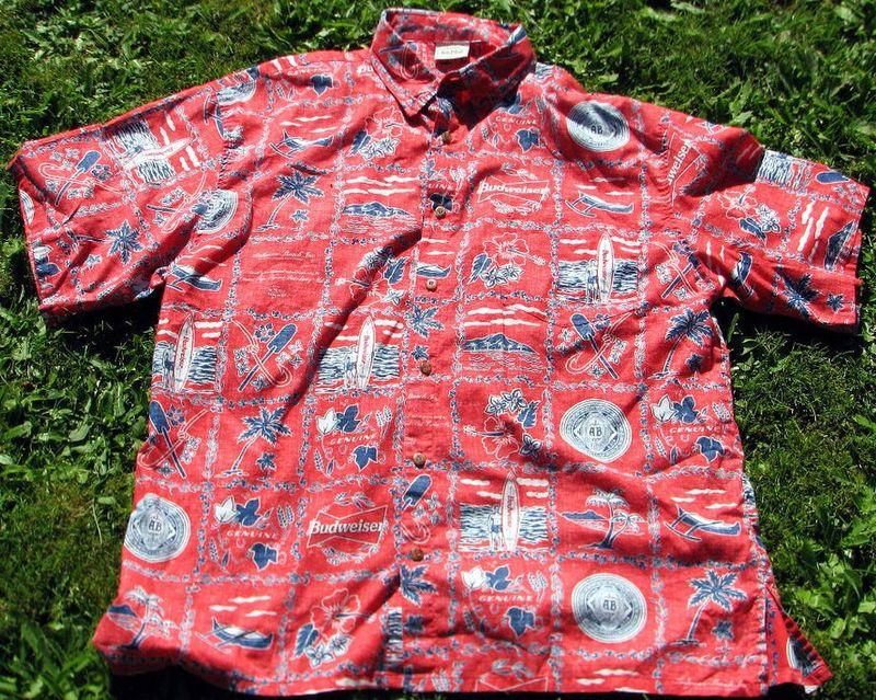 Classic Vintage 60s Budweiser Beer Surfing Hawaiin Shirt