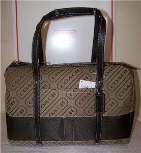 COACH 12254 Lozenge Stripe Satchel Purse Travel Bag