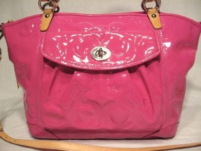 Coach 13178 Hot Pink Embossed OP Art Patent Leather Purse
