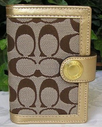 Coach 3 x 5 Signature Day Planner Khaki-Gold