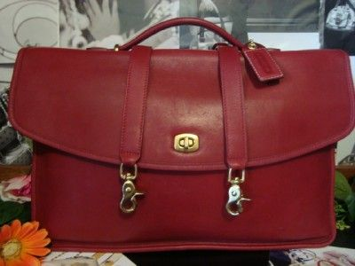 Coach 5265 Lexington Red Leather Briefcase Travel Bag