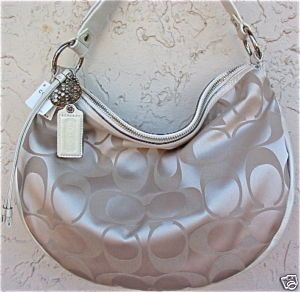 Coach Ali Bone Signature Large Satin Hobo
