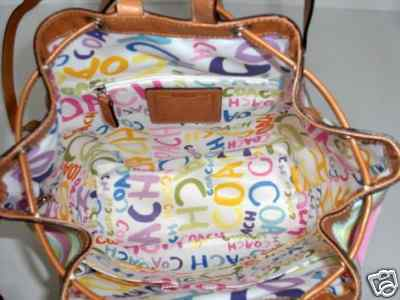 Coach Beach Drawstring Backpack purse Inside View