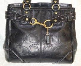 Coach Black Embossed Stitched Leather Signature Book Tote