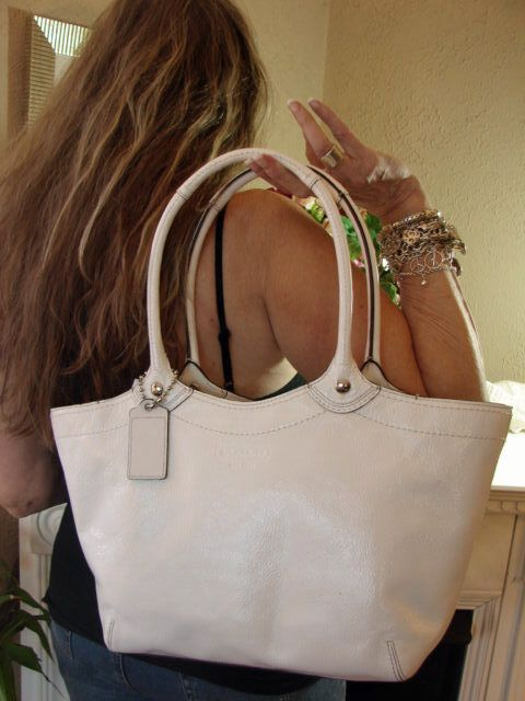 Coach Bleecker Patent Leather Large White Bag on Model