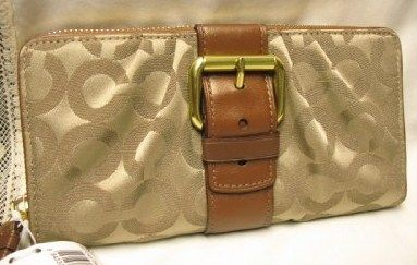 Coach Brooke OP Art Print Accordion Zip Wallet Khaki