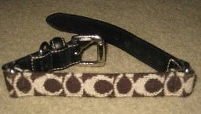 Coach Brown Wool Leather Dog Collar XSM