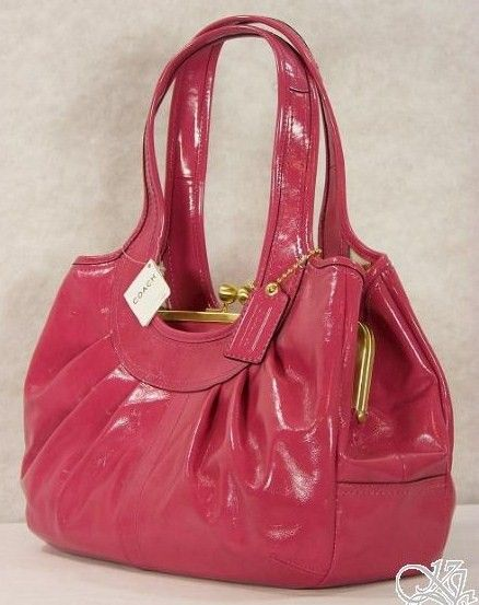 COACH Ergo Patent Leather Pleated Framed Satchel Purse