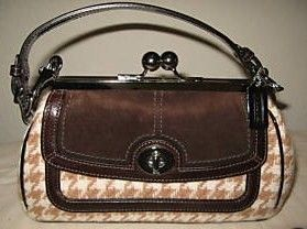 Coach Framed Brown Kiss Lock Houndstooth Purse Satchel