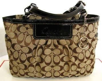 Coach Gallery EW Pleated Sig Tote Purse Khaki