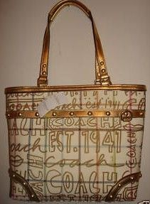 Coach Graffiti Tattersall Heritage Tote Bag