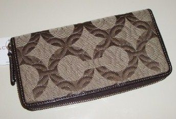 COACH Gramercy OP Art Zip Around Wallet Khaki