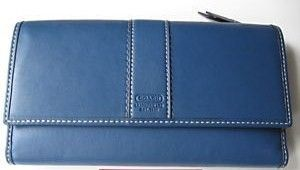 Coach Hamptons Blue Leather Check book Wallet