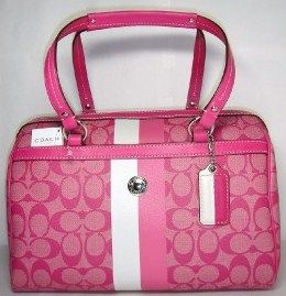 Coach Heritage STripe Hot Pink Satchel Purse 14478