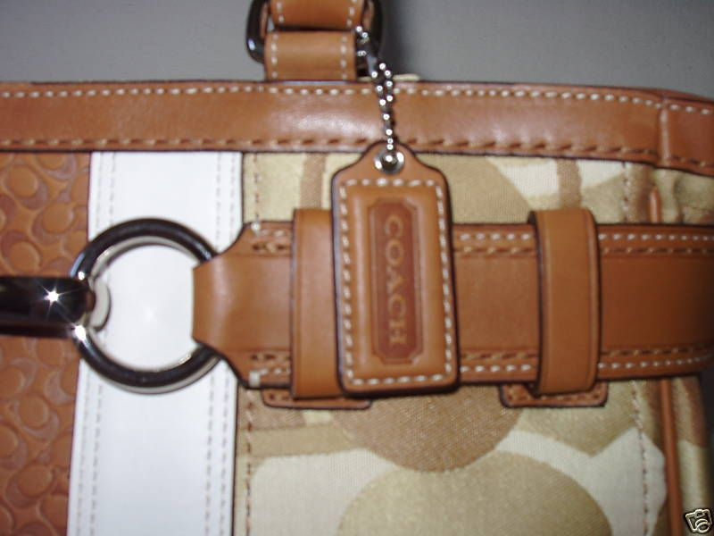 Coach Hamptons optic signature stripe carryall 13337 close up