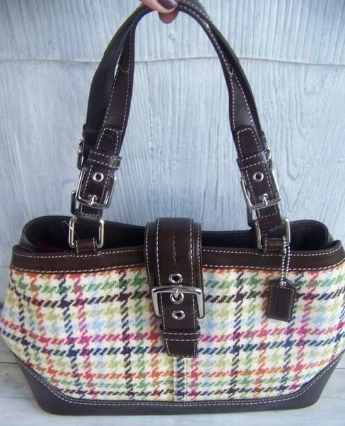 Coach Hamptons Tattersal Plaid Brown Purse