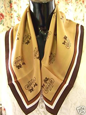 Coach Khaki Carriage Print Silk Scarf F92267