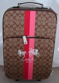 Coach Signature Signature Wheel Along Suitcase Luggage Khaki & Pink