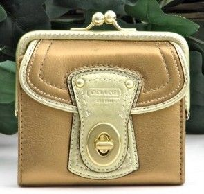 Coach Legacy Leather Two Toned French Pures Wallet Gold