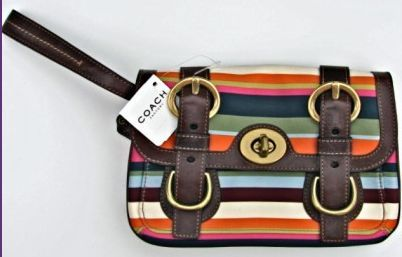Coach Legacy Stripe Leather Clutch Wristlet