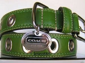 Coach Large Green Gromet Leather Dog Collar