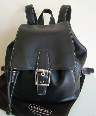 Coach Leather Backpack Black 9569