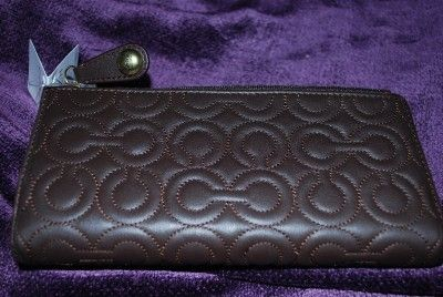 Coach Leather Gramercy Embossed Brown Checkbook Wallet