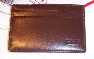 COACH Leather Slim Card Holder Mahogany Style 4664