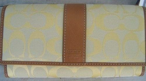 Coach Lemon Yellow Signature Tan Checkbook Wallet